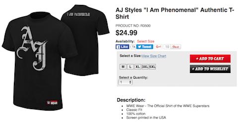 AJスタイルズのTシャツが販売開始